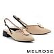 低跟鞋 MELROSE 時髦迷人金屬圓扣可拆式後繫帶尖頭低跟鞋-米 product thumbnail 1
