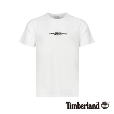 Timberland 男款白色圓領品牌刺繡短袖T恤|A1VY5