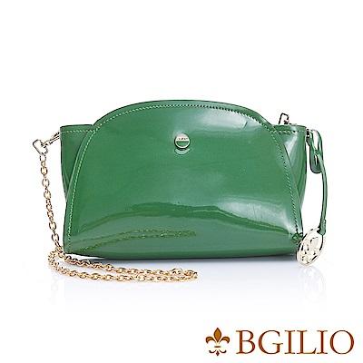 義大利BGilio-經典漆亮牛皮元寶小包-綠色1970.001B-08