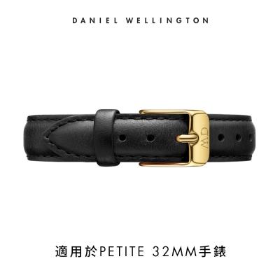 【Daniel Wellington】官方直營 14mm金扣 爵士黑真皮皮革錶帶