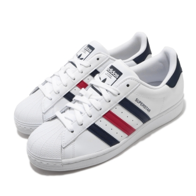adidas 休閒鞋 Superstar 復古 低筒 男女鞋 愛迪達 三葉草 貝殼頭 情侶穿搭 皮革 白紅藍 FX2328