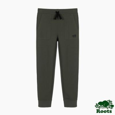 Roots大男童-城市悠遊系列 口袋休閒棉褲-軍綠色