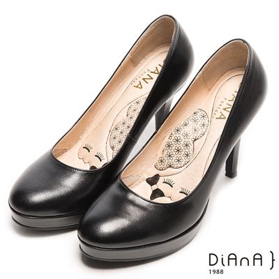 DIANA魅力質感珠光系簡約真皮跟鞋-漫步雲端瞇眼美人款-黑