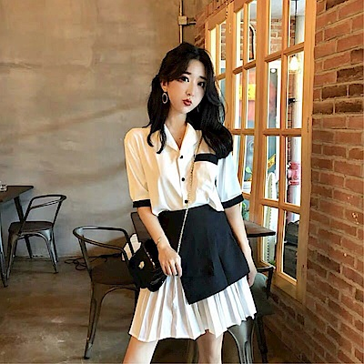 DABI 韓國風黑白拼色顯瘦百褶連身裙套裝短袖裙裝