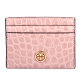 TORY BURCH Robinson 鱷魚紋質感皮革卡片證件夾-淺粉色 product thumbnail 1