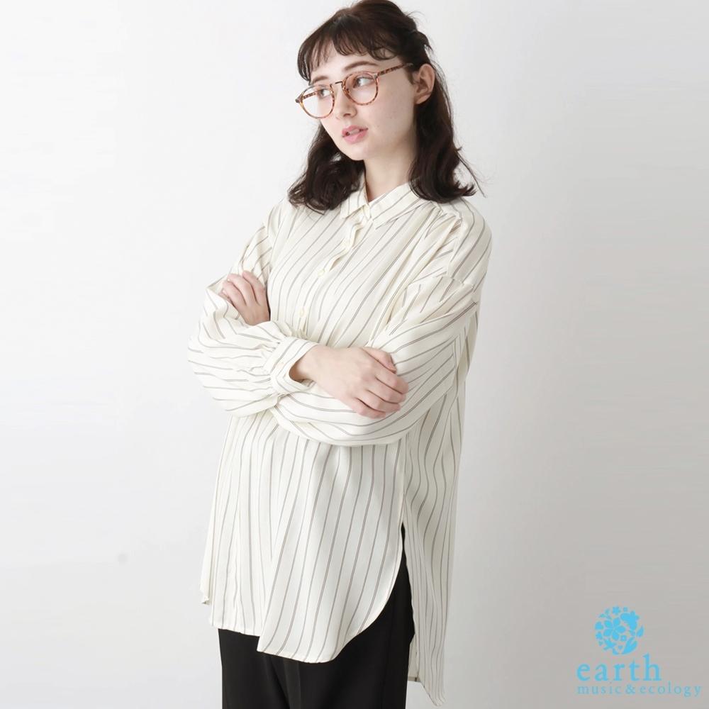 earth music 環保材質設計垂墜長版襯衫上衣