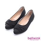 bellwink交叉皮革尖頭平底鞋-黑色-b9806bk