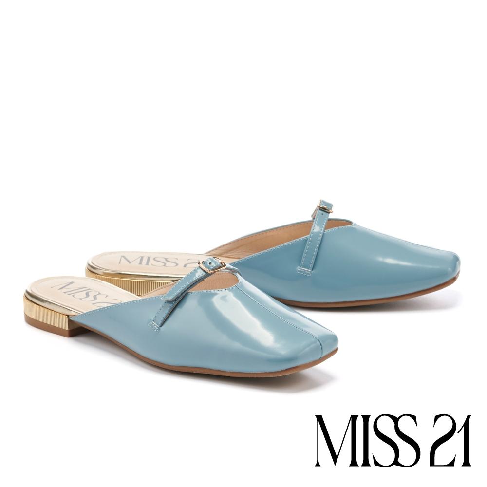 穆勒鞋 MISS 21 文青日常一字釦帶牛皮方頭低跟穆勒拖鞋-藍