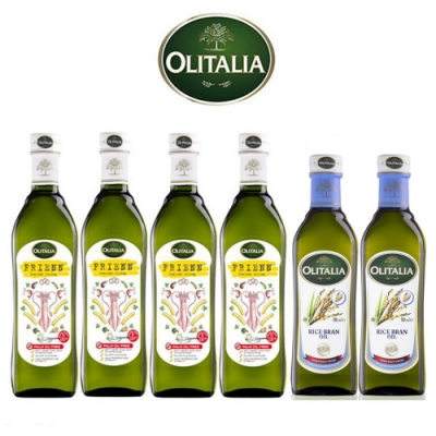 Olitalia奧利塔高溫專用葵花油750mlx4瓶+玄米油500mlx2瓶-禮盒組