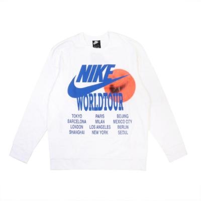 Nike T恤 NSW Long-Sleeve Top 男款 運動休閒 大學T 印花 世界 笑臉 棉質 白 藍 DA0630100