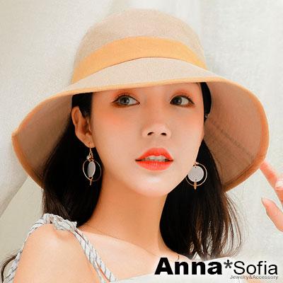 【滿額再75折】AnnaSofia 雙拼色帶滾邊 防曬遮陽漁夫盆帽(杏黃系)