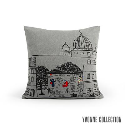 Yvonne Collection 柏林圍牆抱枕(60x60cm)-暗灰