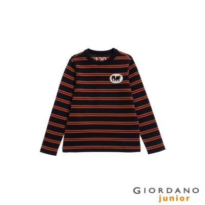 GIORDANO  童裝刺繡布章條紋長袖T恤-02 標誌海軍藍(條紋)