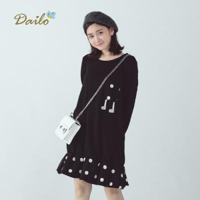 【Dailo】點點拼接長版素面-洋裝(三色)