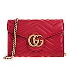 GUCCI GG Marmont系列仿舊金色雙G金屬山形紋牛皮釦式手拿/斜背包 (紅色)