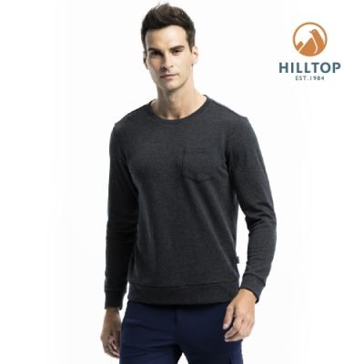 【hilltop山頂鳥】男款混羊毛保暖抗菌長袖薄上衣H51MI8 黑美人