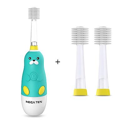 日本Mega Ten幼童電動牙刷海豹+專用刷頭(2入)
