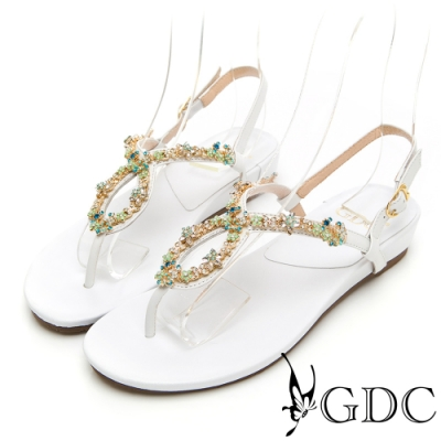 GDC-田園碎花水鑽真皮繽紛夏日平底涼鞋-白色