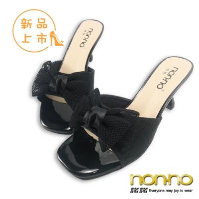 nonno 諾諾復古歐美韓系甜美個性裂紋蝴蝶結中跟鞋