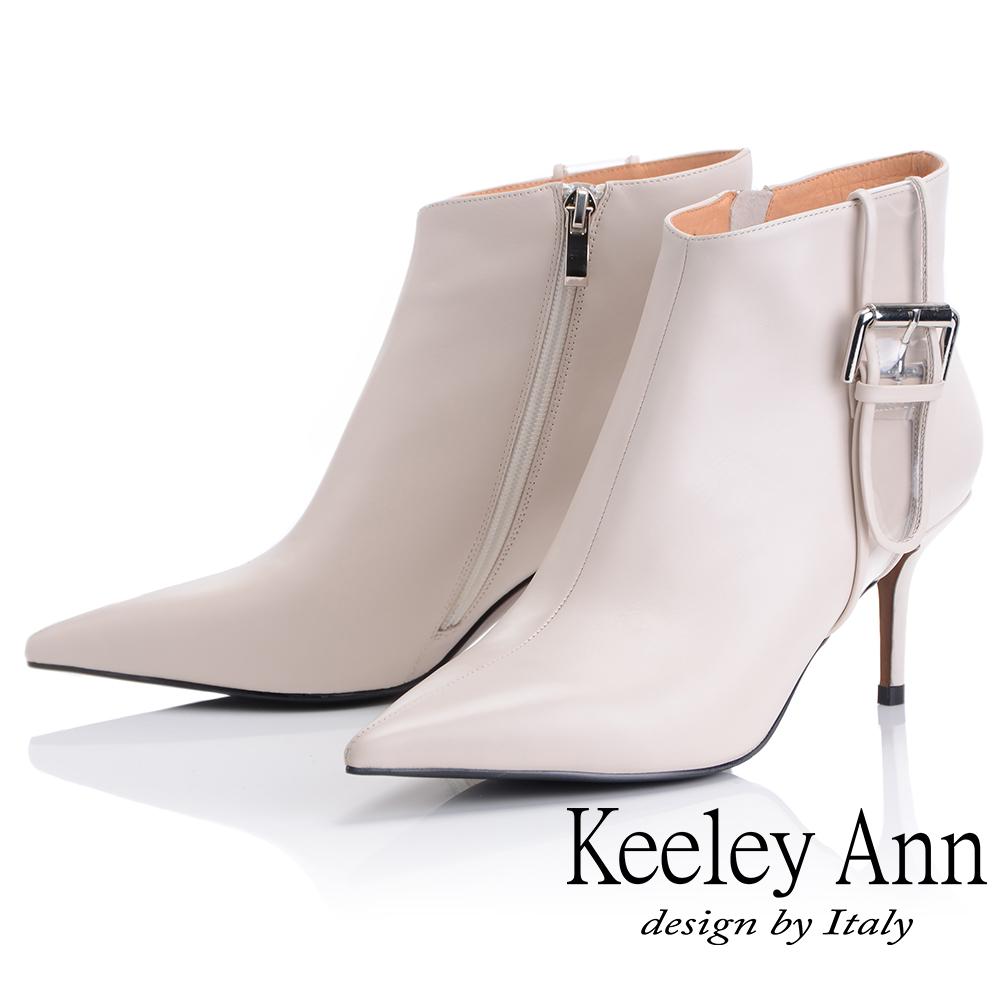 Keeley Ann 俐落個性~率性金屬飾釦全真皮短靴(米色-Ann)