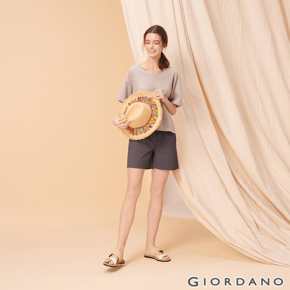 GIORDANO 女裝純棉抽繩卡其休閒短褲-98 標誌海軍藍/白