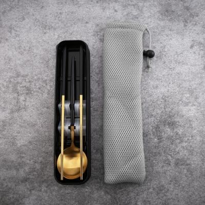 Royal Duke 葡萄牙同款餐具兩件套組-黑金 (時尚簡約環保餐具 送收納盒+束袋)
