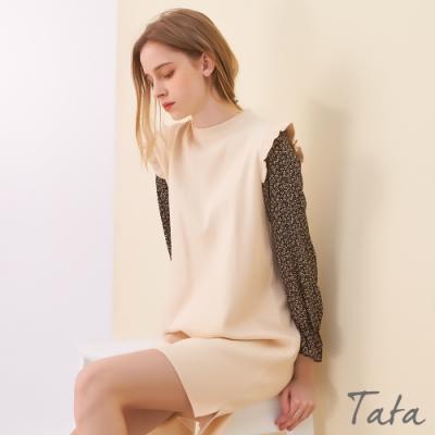 針織拼接雪紡袖洋裝 共三色 TATA-F