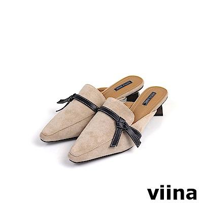 viina Basic黑綁帶木紋跟穆勒鞋 - 杏