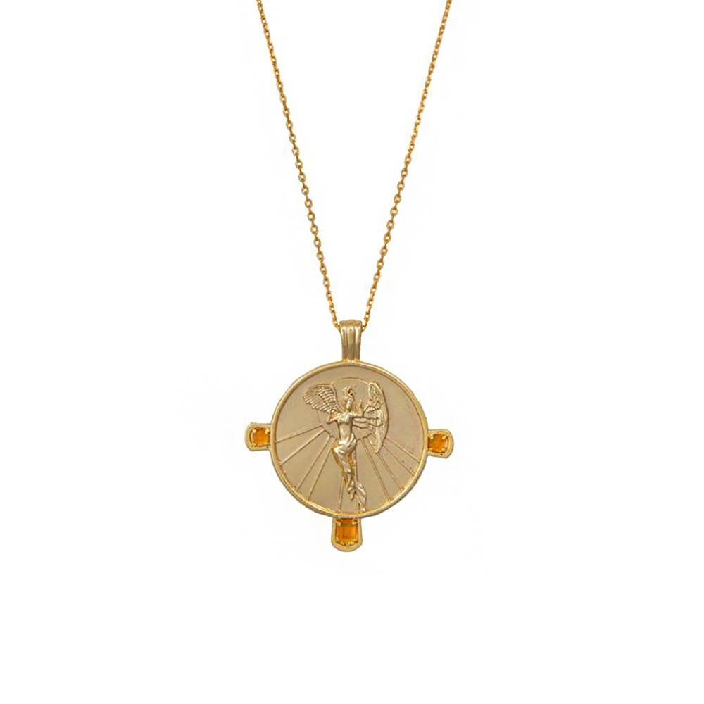 Wanderlust+Co 澳洲時尚品牌 厄俄斯希臘黎明女神吊牌項鍊 金色