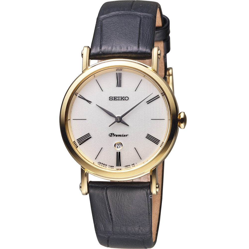 SEIKO 精工 Premier 超薄系列石英女錶-金色 7N89-0AY0K