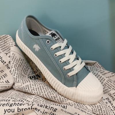 moz瑞典 駝鹿綁帶式帆布餅乾鞋(蘇打綠)