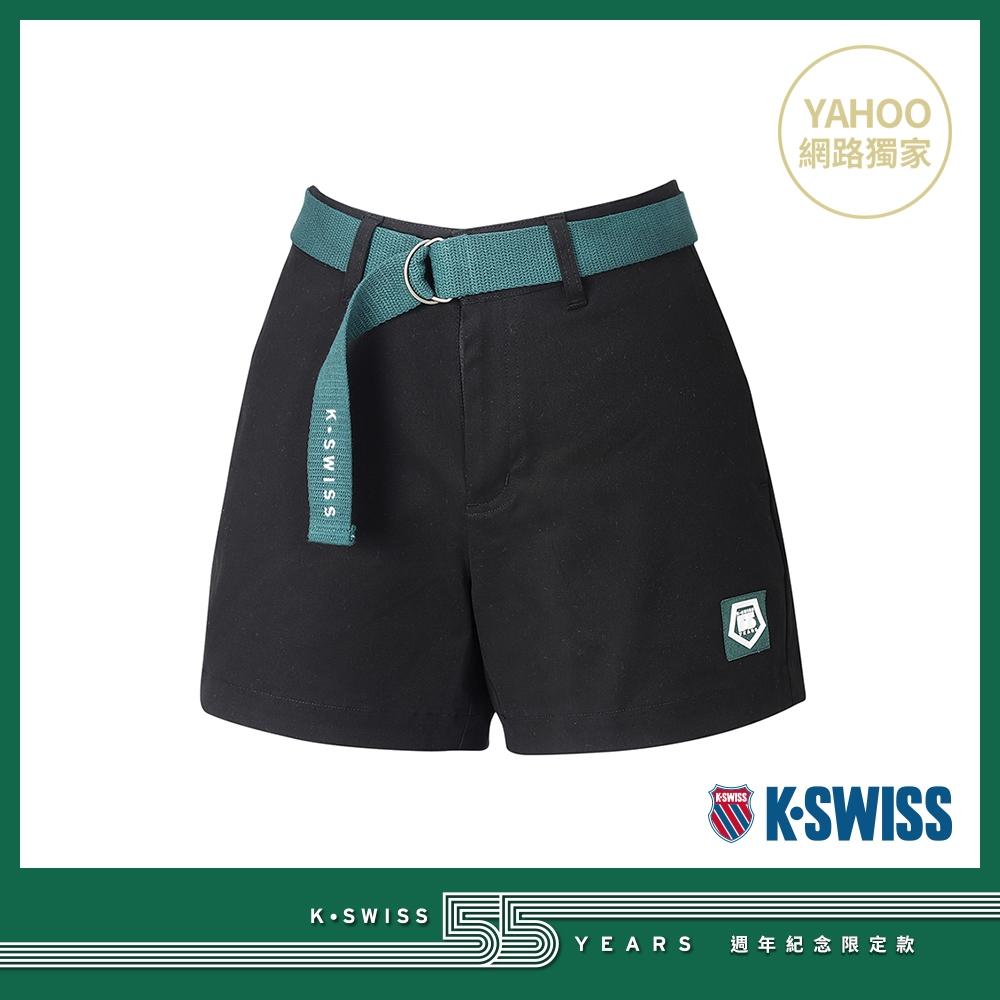 K-SWISS 55TH WOVEN SHORTS W/BELT棉質休閒短褲-女-黑