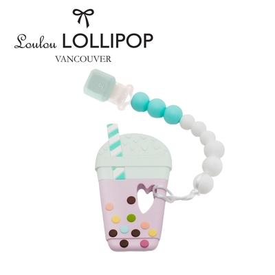 加拿大Loulou lollipop嬰幼兒珍珠奶茶 固齒器組/奶嘴鍊夾-夏日藍