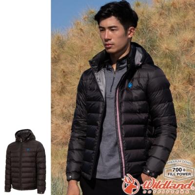Wildland 荒野 0A72102-55亮黑色 男收納枕拆帽極暖鵝絨外套
