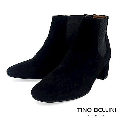 Tino Bellini 經典絨布質感中跟切爾西靴 _ 黑