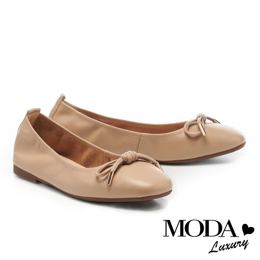 低跟鞋 MODA Luxury 日常純色蝴蝶結全真皮方頭娃娃低跟鞋-杏