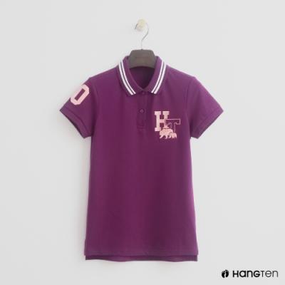 Hang Ten-女裝-滾邊領刺繡POLO衫-紫