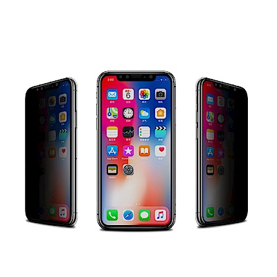 iPhone XS Max 絲印 滿版 高清防窺 9H 鋼化玻璃膜-黑色