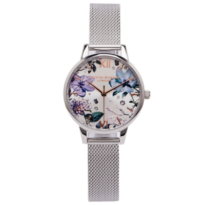Olivia Burton  繽紛花色米蘭帶手錶(OB16BF26)-閃亮面X銀色-白面/30mm