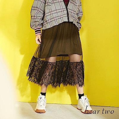 beartwo 法式浪漫可拆式長版蕾絲紗裙洋裝(二色)