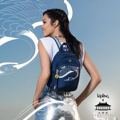 Kipling X 永樂宮聯名系列深藍底雲間盛境拉鍊式小巧收納後背包-DELIA MINI