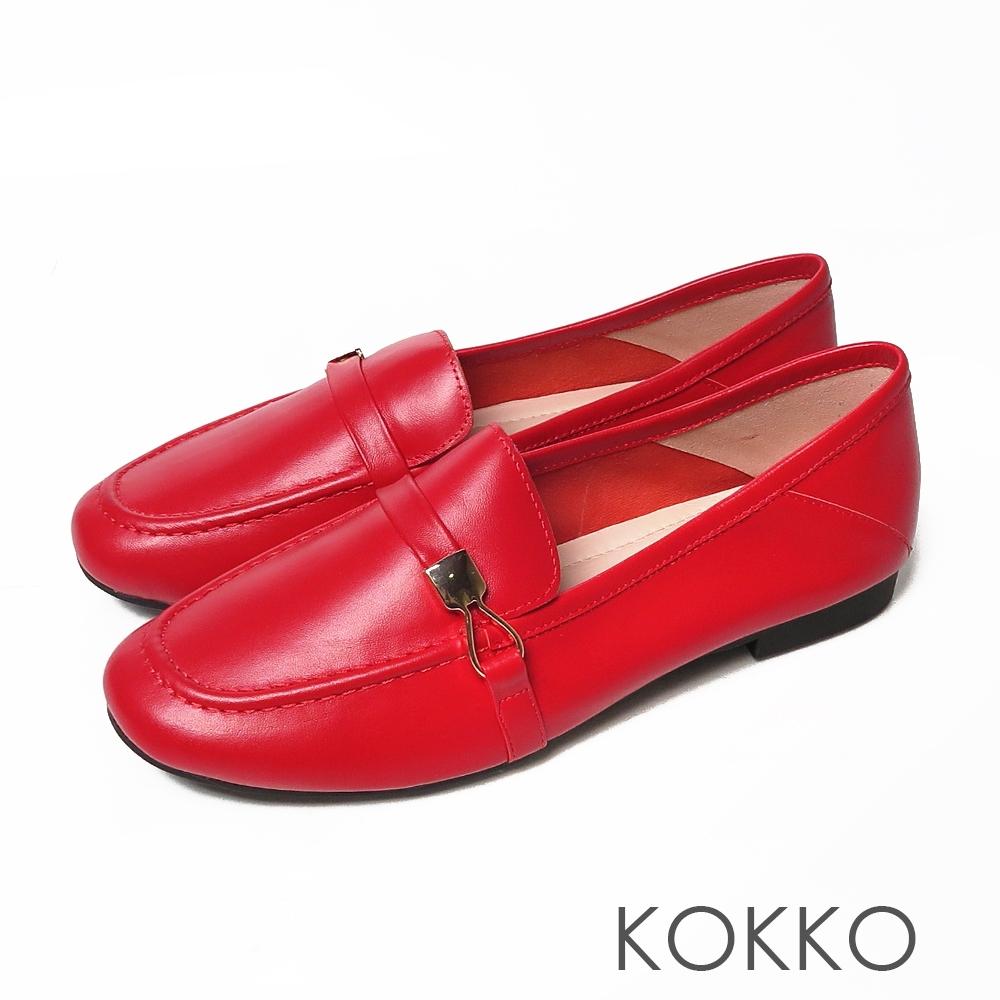 KOKKO方頭羊皮彈力彎折寬版平底休閒鞋烈焰紅