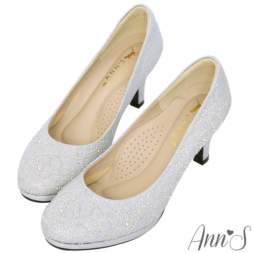 Ann'S璀璨玫瑰手工燙鑽-防水台圓頭高跟婚鞋-銀