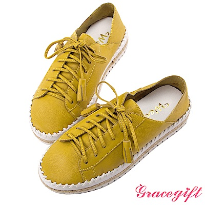 Grace gift X Wei唐葳-全真皮流蘇麻繩厚底休閒鞋 黃綠