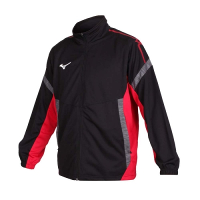 MIZUNO 男 針織運動外套 黑紅灰白