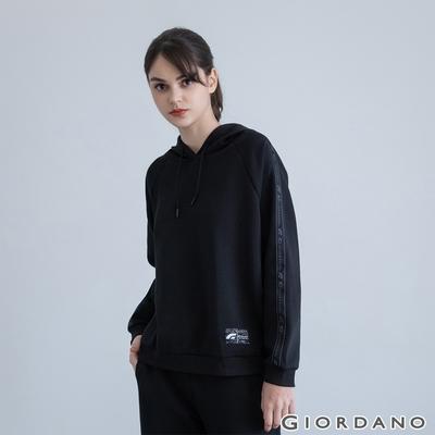 GIORDANO   女裝G-MOTION雙面針織連帽T恤 - 09 標誌黑