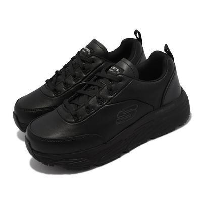 Skechers 休閒鞋 Max Cushioning Elite 寬楦 女鞋 防滑 避震 緩衝 工作鞋 黑 108015-WBLK
