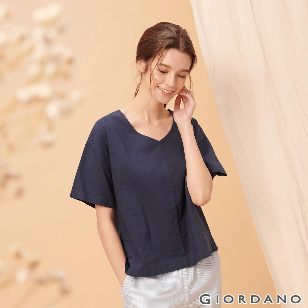 GIORDANO 女裝自然棉麻系列短袖寬版上衣-66 標誌海軍藍