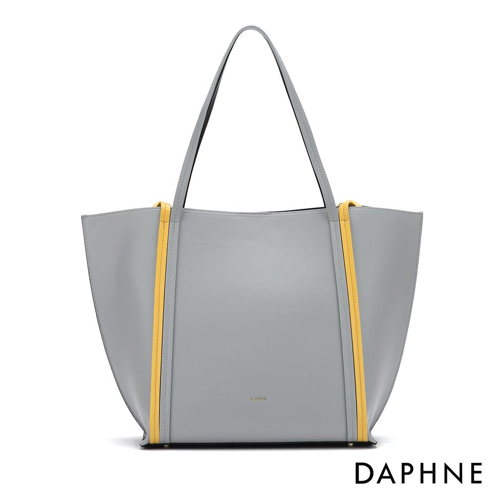 達芙妮DAPHNE-經典撞色子母托特包-灰色