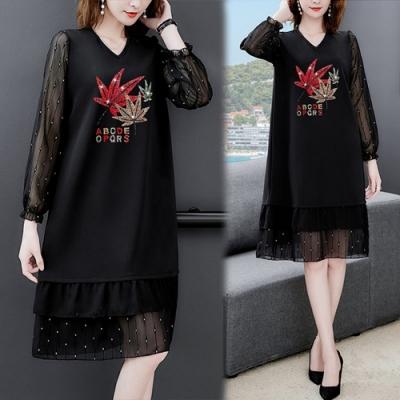 【KEITH-WILL】(預購)品味復古時尚楓葉美女輕柔洋裝(共1色)